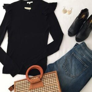 Madewell Ribbed Flutter Detail Sweater